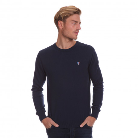 Pull col rond coton/laine