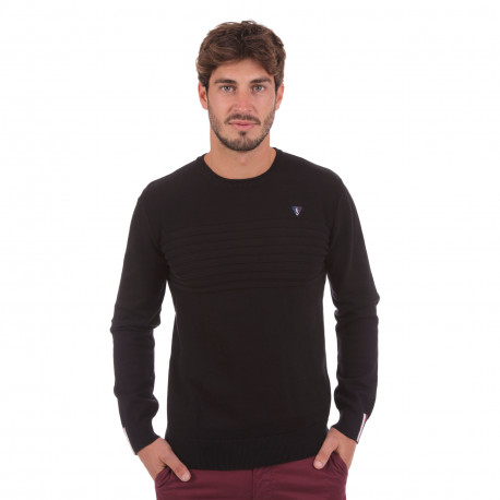 Pull col rond bandes latérales